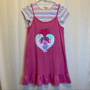 Trolls Poppy pink tank top dress with stripe shirt
